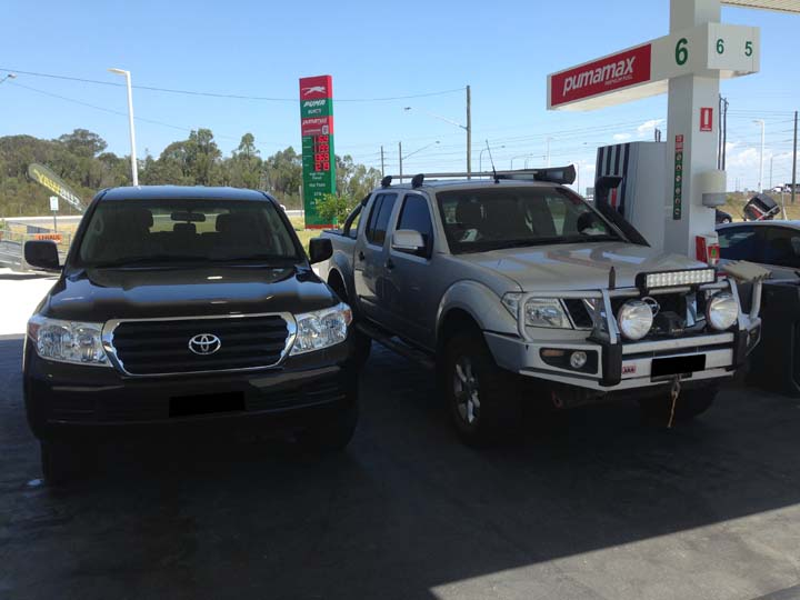 Travelling home from Singleton side by side at the Servo.